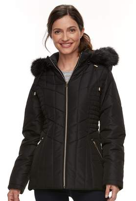 Details Women's Faux-Fur Trim Smocked Jacket