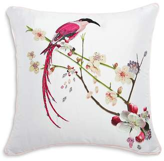 "Ted Baker Printed Bird Embroidered Decorative Pillow, 18"" x 18"""