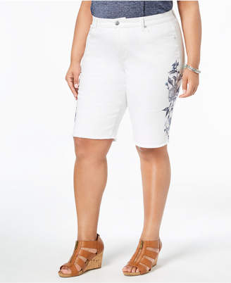 Style&Co. Style & Co Plus Size Embroidered Denim Bermuda Shorts, Created for Macy's