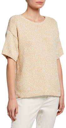 Eileen Fisher Organic Cotton Twisted Chainette Short-Sleeve Boxy Sweater