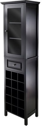 Winsome Wood Burgundy Wine Display Tower, Black Finish