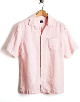 6aa434f7 Todd Snyder Short Sleeve Linen Camp Collar Shirt in Pink