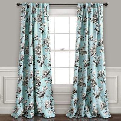 Lush Décor Tania Floral 84-Inch Back Tab Room Darkening Window Curtain Panels in Blue