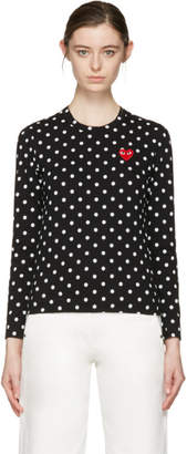 Comme des Garcons Black Polka Dot Heart Patch T-Shirt