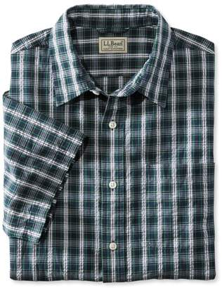 L.L. Bean L.L.Bean Tartan Seersucker Shirt, Short-Sleeve Slightly Fitted