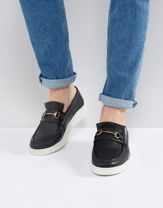 Asos Design Loafers In Black Leather With White Sole And Snaffle