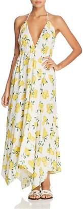 Kate Spade Lemon Print Halter Maxi Dress Swim Cover-Up