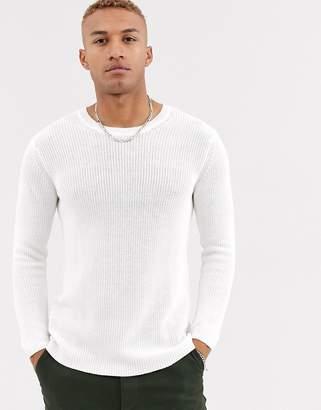 Bershka crew neck knitted sweater in white