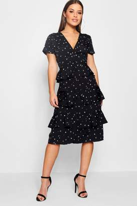 boohoo Petite Star Printed Ruffle Hem Midi Dress