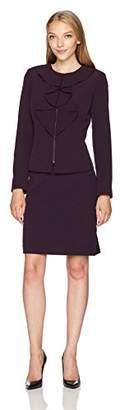 Tahari by Arthur S. Levine Women's Petite Size Ruffle Front Zip Skirt Suit