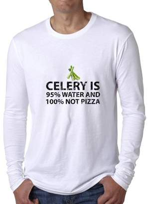 Hollywood Thread Celery Is 95% Water And 100% Pizza Men's Long Sleeve T-Shirt