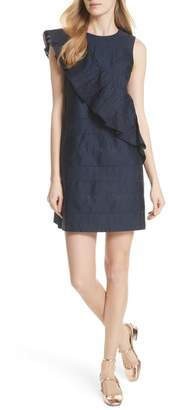 Ted Baker Embroidered Ruffle Stretch Cotton Shift Dress