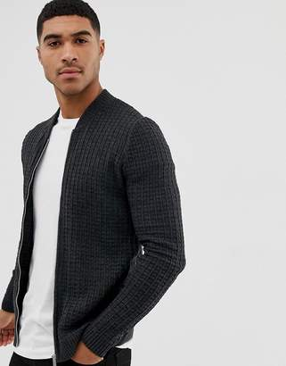 Asos DESIGN knitted muscle fit bomber jacket in charcoal