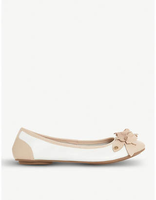 Dune Honeysuckle floral-detail leather ballet flats