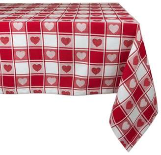 """Design Imports Casual Rectangle Woven Check Hearts Kitchen Tablecloth, 84"""" x 60"""", 100% Cotton, Tango Red"""