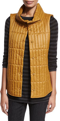 Eileen Fisher Quilted Stand-Collar Vest, Plus Size $318 thestylecure.com
