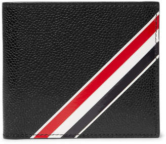 Thom Browne Striped Pebble-Grain Leather Billfold Wallet - Black