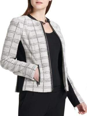Calvin Klein Tweed Center Zip Jacket