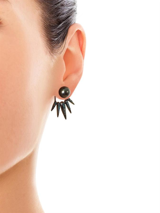 Nikos Koulis Diamond, pearl and gold earrings