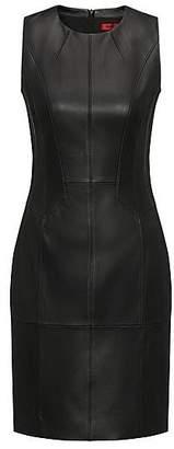 HUGO BOSS Smock-detail dress in lambskin nappa leather