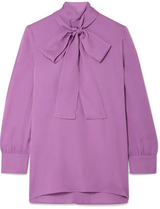 Gucci Pussy-bow Silk-crepe Blouse - Purple