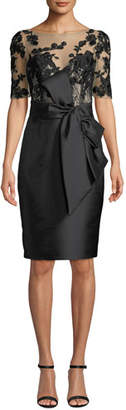 Badgley Mischka Bateau-Neck Elbow-Sleeve Embroidered Tulle Illusion Dress w/ Bow Detail