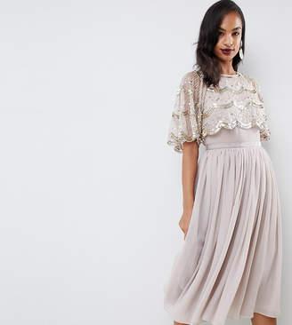 Asos DESIGN scallop hem embellished crop top midi dress