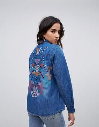 Raga Desert Tribe Embroidered Back Denim Shirt