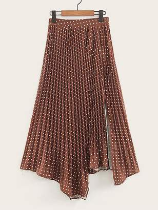 Shein Polka Dot Asymmetric Hem Pleated Skirt