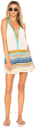 CHIO Deep V Fringe Mini Dress