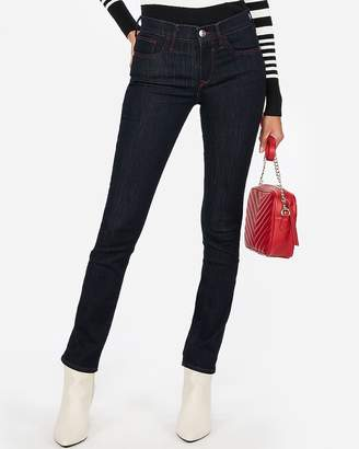 Express Mid Rise Contrast Stitch Super Skinny Jeans