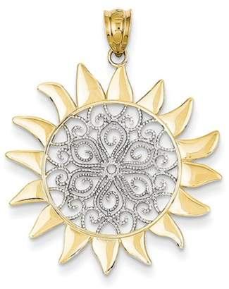 Black Bow Jewelry Company 14k Yellow Gold & White Rhodium 27mm Filigree Sun Pendant