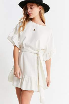 Urban Outfitters Suddenly Spring Linen Ruffle Tie Dress