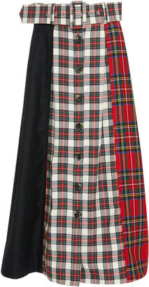 Isa Arfen Patchwork-Effect Plaid And Tartan Midi Skirt
