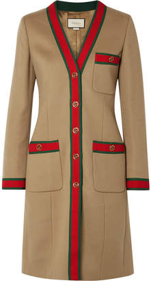 Gucci Grosgrain-trimmed Wool Coat - Camel