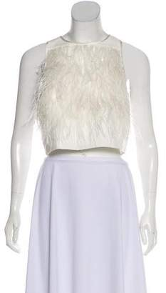 Tibi Feather-Embellished Crop Top w/ Tags