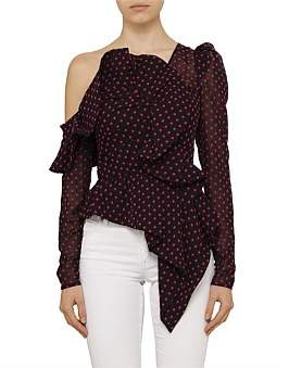 Self-Portrait Plumetis Frill Top With Red Dot