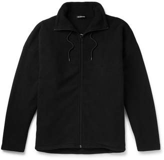 Balenciaga Oversized Embroidered Fleece Jacket - Black