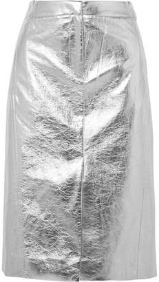 Tibi Metallic Faux Crinkled-leather Midi Skirt - Silver
