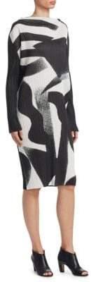 Pleats Please Issey Miyake Monochrome Long Sleeve Dres