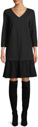 Lafayette 148 New York Larsa V-Neck Long-Sleeve Punto Milano Dress w/ Crepe Combo
