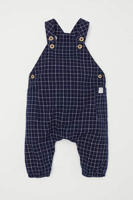 H&M Patterned Bib Overalls - Dark blue/checked - Kids