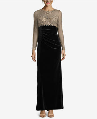 Xscape Evenings Petite Embellished Illusion Velvet Gown