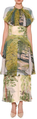 Stella McCartney Landscape-Print Tiered Capelet Dress, Multi