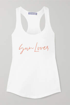 Paradised - Sun Lover Embroidered Ribbed Cotton-blend Jersey Tank - White