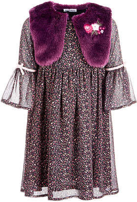 Blueberi Boulevard Toddler Girls 2-Pc. Dress & Faux-Fur Shrug Set