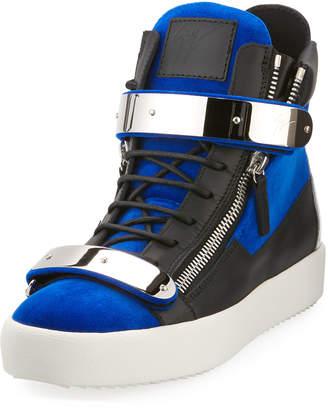 Giuseppe Zanotti Men's Velvet Double-Bar High-Top Sneakers, Blue