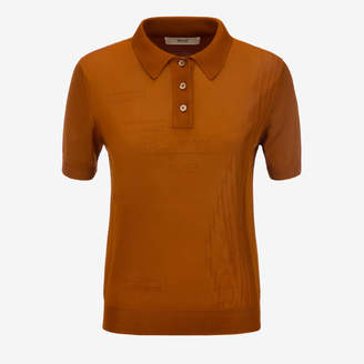 Bally Viscose Knit Polo Shirt Brown, Women's viscose knit polo shirt in cowboy