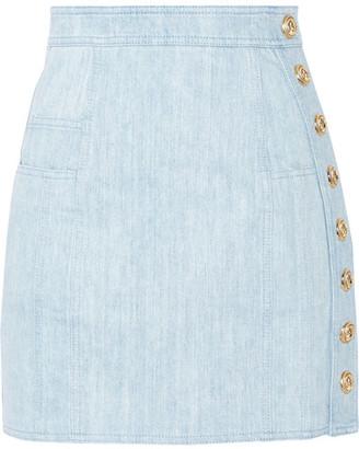 Balmain - Button-detailed Denim Mini Skirt - Light denim $1,095 thestylecure.com