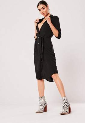 Missguided Black Tie Belt Midi Shirt Dress